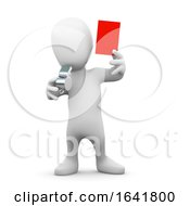 3d Little Man Holds Up A Red Card