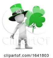Poster, Art Print Of 3d Little Man Celebrates St Patricks With Clover