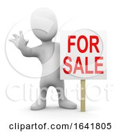 3d Little Man With For Sale Sign