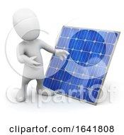 Cartoon 3d Man Standing Next To A Solar Panel