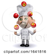 3d Chef Juggles Red Apples