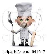 Funny Cartoon 3d Chef Holding A Knife And Fork