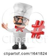 3d Funny Cartoon Italian Pizza Chef Character Holding A Hash Tag Symbol