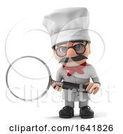 3d Funny Cartoon Italian Pizza Chef Character With Magnifying Glass