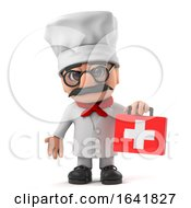 3d Funny Cartoon Italian Pizza Chef Character Brings First Aid Kit by Steve Young