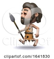 3d Caveman Running With A Spear