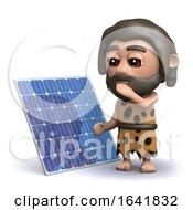 Poster, Art Print Of Funny Cartoon 3d Caveman Standing Next To A Solar Panel