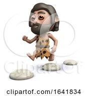 Funny Cartoon 3d Caveman Skips Over Stepping Stones