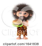 3d Funny Caveman Eats A Beef Burger