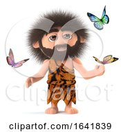 3d Crazy Hairy Caveman Surrounded By Butterflies