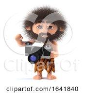 3d Funny Caveman Holding A Camera