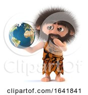 3d Funny Cartoon Primitive Stoneage Caveman Holds A Globe Of The Earth