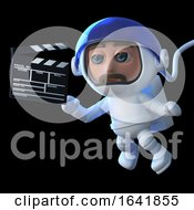 3d Funny Cartoon Spaceman Floats In Space With A Movie Makers Clapperboard