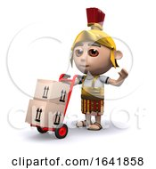 3d Cartoon Roman Centurion Delivering Parcels On A Trolley by Steve Young
