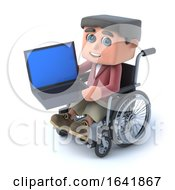 3d Boy In Wheelchair Using A Laptop Pc