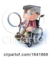 3d Boy In Wheelchair Looking Through Magnifying Glass