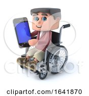 3d Boy In A Wheelchair Using A Smartphone