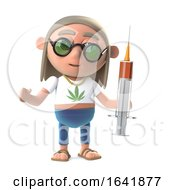Poster, Art Print Of 3d Funny Cartoon Hippy Stoner Character Holding A Syringe Of Drugs
