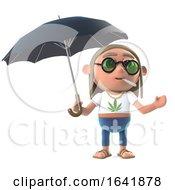 Poster, Art Print Of 3d Hippie Stoner Has An Umbrella