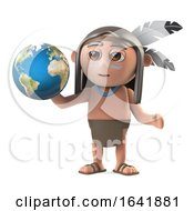 Funny Cartoon 3d Native American Indian Holding A Globe Of The Earth