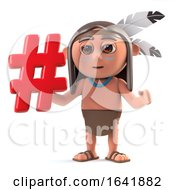3d Native American Indian Character Has A Hashtag Symbol