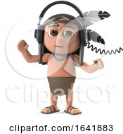 3d Funny Cartoon Native American Indian Character Wears Headphones