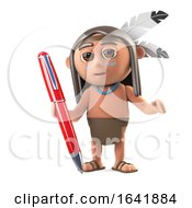 3d Funny Cartoon Native American Indian Holding A Pen To Write Wih