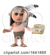 Funny Cartoon 3d Native American Indian Holding A Ticket To A Show