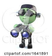 3d Child Frankenstein Monster With Binoculars