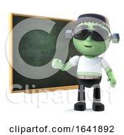 3d Child Frankenstein Monster At The Blackboard