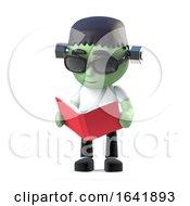 3d Child Frankenstein Monster Reads A Book