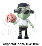 3d Child Frankenstein Monster Holding A Brain