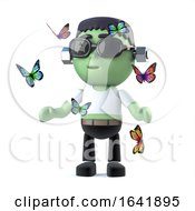 3d Child Frankenstein Monster Surrounded By Butterflies
