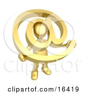 Gold Person Holding A Golden At Symbol With His Head Peeking Through The Center Clipart Illustration Graphic