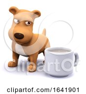 3d Puppy Likes Coffee