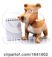 Poster, Art Print Of 3d Dog With Notepad