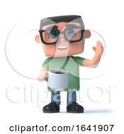 Poster, Art Print Of 3d Boy Wearing Glasses Drinks A Cup Of Coffee