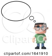 3d Boy In Glasses With A Thought Balloon