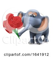 Poster, Art Print Of Funny Cartoon 3d Elephant Holding A Bunch Of Romantic Flowers