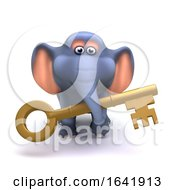 3d Elephant With Gold Key by Steve Young