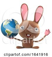 Poster, Art Print Of 3d Cute Cartoon Easter Bunny Rabbit Character Holding A Globe Of The Earth