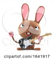 Poster, Art Print Of 3d Cute Cartoon Easter Bunny Rabbit Plays Electric Guitar