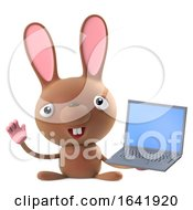Poster, Art Print Of 3d Funny Cartoon Easter Bunny Rabbit Character Has A Laptop Pc