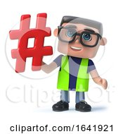 Funny Cartoon 3d Man In Day Glo Holding A Hashtag Symbol