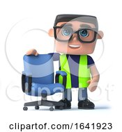 3d Health And Safety Worker Stands By An Office Chair