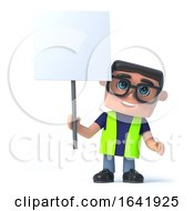 3d Health And Safety Worker Holds Up A Placard