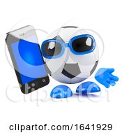 3d Football Dude With Smartphone