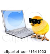 Poster, Art Print Of 3d Chick With Laptop Pc