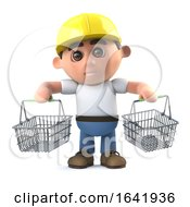 Poster, Art Print Of 3d Construction Worker Goes Shopping