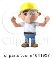 Poster, Art Print Of 3d Construction Worker Cheers Jubilantly